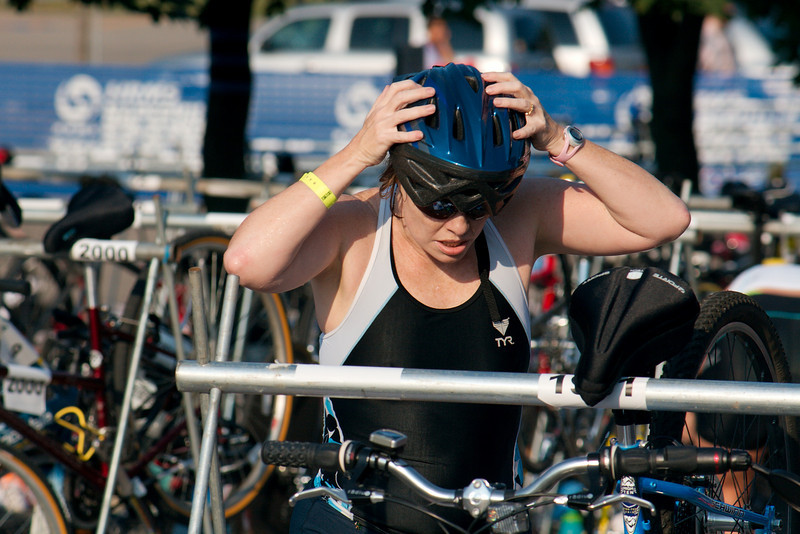 Cheri in the transition pit getting ready for the bike portion of the race.