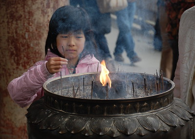 Smoke from the incense purifies