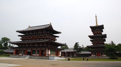 Kondo and west pagoda in Yakushiji Temple