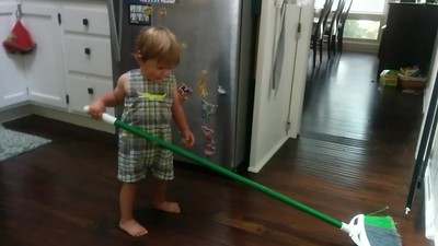 Sweeping the kitchen