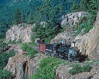 July 1987.  Rail camp.  Rail camp was a boxcar modified into cabin for weekly rental to folks who wanted to spend some time in the woods.  The rental included a private train from Durango to the campsite at Cascade, and return.