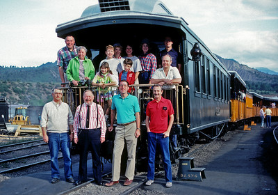 August 10, 1989.  The Rodell Lunch Bunch.  This is a group of mostly folks I worked with at SP starting back around 1966, with a few additions over the years.  Way back when we chartered the Nomad on the D&S, and our great hostess Ruth took this picture as we were getting ready to leave Durango.