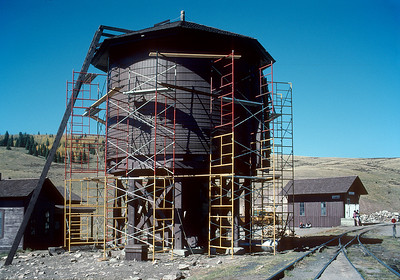 The water tank at Osier in the final stages of reconstruction from the ground up.  October 2000.