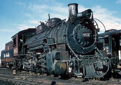 August 1971.  Still in the movie paint from her last DRGW assignment, the 483  has begun a new life hauling tourists.  Unfortunately a few years later a need for major repairs caused her to be sidelined.  Maybe someday she will be returned but as of this writing in 2017 she remains a hanger queen.