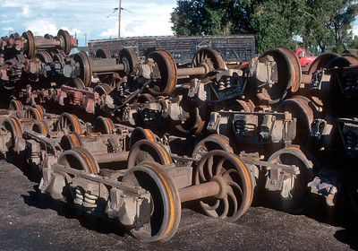 August 1971.  Narrow gauge trucks from scrapped cars at Alamosa.