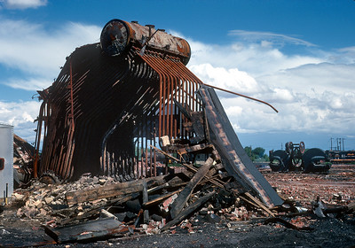 August 1971.  The remains of the Alamosa shop.  The Rio Grande did not waste time tearing the ancient edifice down after narrow gauge freight ops were abandoned and they no longer had to overhaul steam engines.