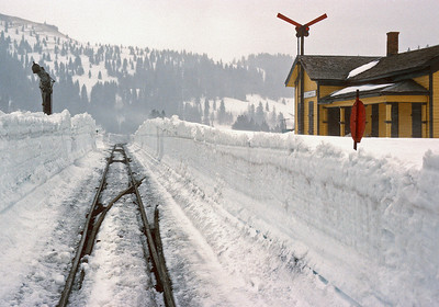 May 1993.  The 1993 line opening was the toughest, with a combination of deep snow and derailments due to soft track.  I was not there for the operation but got this picture at Cumbres a few days later.