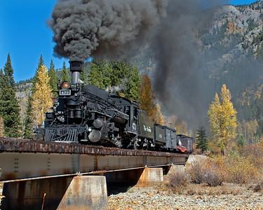 October 7, 2016.  A southbound Silverton mixed train crosses the Animas at Twin Bridges.