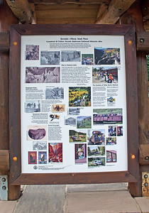 August 26, 2018.  While visiting Cumbres Pass I noticed this very nice kiosk with some information about the Cumbres & Toltec Scenic Railroad National Historic Site, and one photo looked awfully familiar, the one in the center with the fall color.