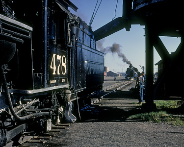 May 28, 1968.  The 478 and 476 clean their fires and take coal and water at Antonito prior to the climb to Cumbres.