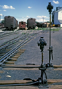 Alamosa. July 1963. These are some of the transload tracks where freight was transfered between narrow and standard gauge cars. Freight in boxcars was transferred largely by hand. Typically one standard gauge carload equalled at least two narrow gauge carloads. The relatively small size of the narrow gauge cars is very apparent in this picture.