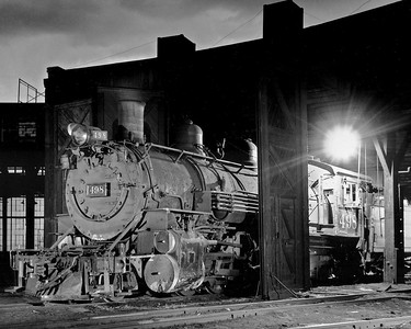Alamosa roundhouse at night.  September 1964.