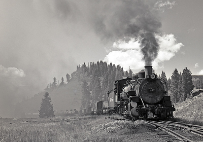 Topping the grade at Cumbres.  September 1964.