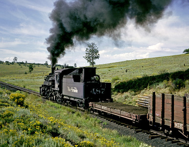 Heading west from Chama. The helper had run ahead light to Gato where it would wait for the 487 and its train. The two engines would then doublehead for the climb from Gato to near Falfa, where they would separate again for the downhill section into Durango.  September 1964.
