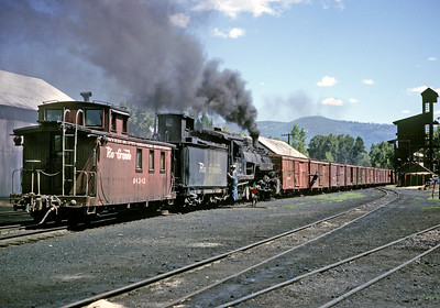 July 19, 1963.  A Cumbres turn prepares to depart Chama.