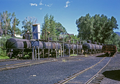 July 1963.  The oil rack at Chama where Gramps cars were loaded.  Crude arrived by pipeline from a field northwest of Chama.  It was loaded in tank cars and hauled to the Oriental Refinery in Alamosa.