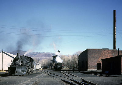 October 1962.  Chama looking east.  The tall stack was associated with the stationary steam plant in the roundhouse.