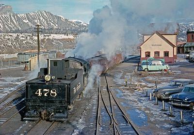 January 1960.  Switching at Durango.
