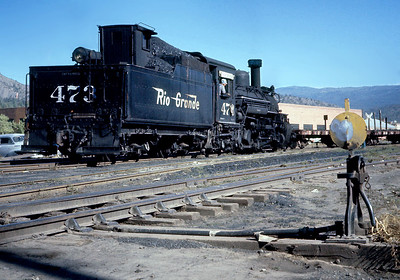 September 1960.  The 473 was the last 470 to retain its straight stack with the DRGW..  In 1960 it was the Durango switcher equipped with footboards and a power reverse.