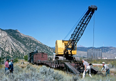 September 1965.  Unloading the dragline on the Farmington branch.