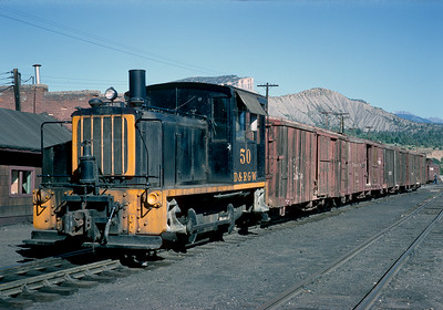 September 1967.  Diesel 50 has taken over the switching duties at Durango.