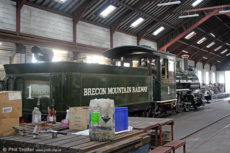 """Temporarily out of action, Baldwin (15511/1897) 2-6-2 'Santa Teresa' in the workshop at Pant on 24th September 2019. It was built for the Mogyana Railway in Brazil. It was sold by them to the Santa Teresa Sugar Mill, where it was converted to 2'-6' gauge. Out of use in 1976, it was brought to the UK in 1990. It has been restored and re-gauged back to 1'11¾"""""""