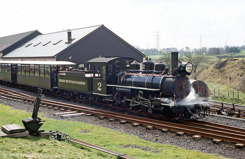 Baldwin Pacific no.2 prepares to leave Pant, Brecon Mountain Railway, with a train for Dolygaer. The BMR is built on the trackbed of the Brecon & Merthyr Railway which closed in 1964. 26th March 2005.
