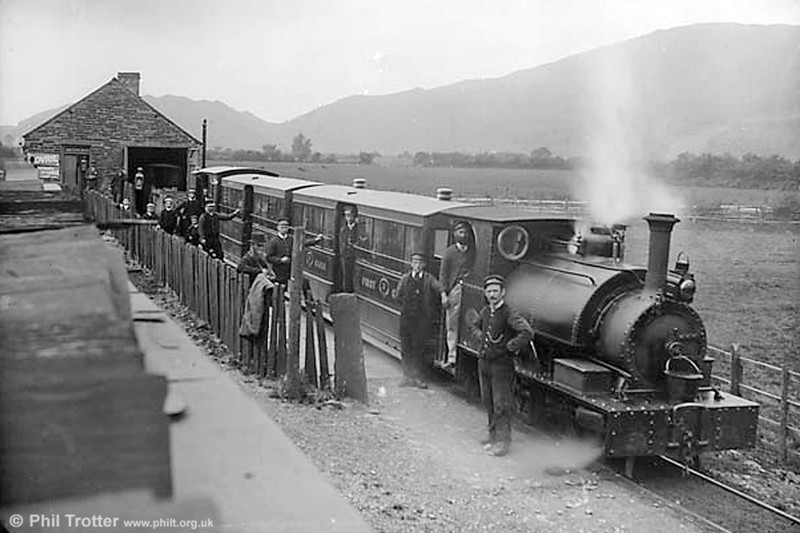 Machynlleth c.1885 with one of the original Hughes locomotives.  (National Library of Wales).