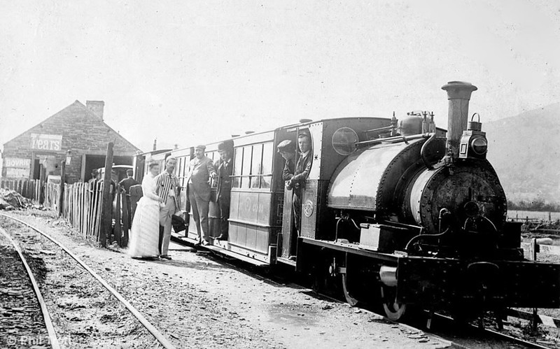 Another view taken at Machynlleth c.1885 with one of the original Hughes locomotives.  (National Library of Wales).