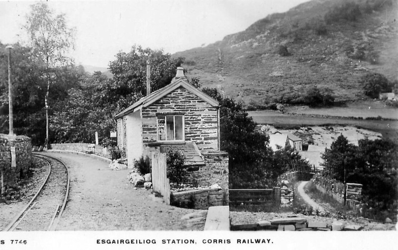 Old postcard showing Esgairceiliog Station. The footpath down to the village still exists, but is overgrown. (P.Trotter Collection)