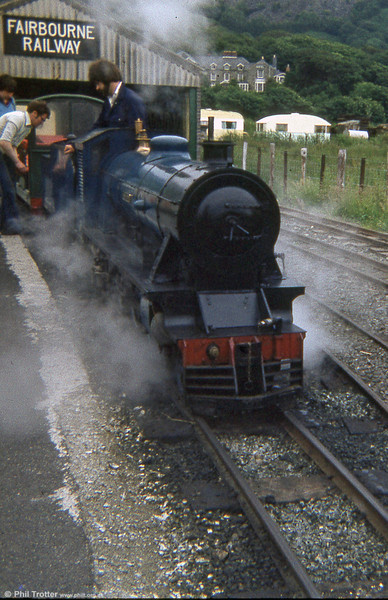 A 1970s view of the Fairbourne Railway, with 4-6-2 'Ernest W Twining' in steam. The loco was later exported to Japan and is to be found at the Shuzenji Romney Railway in Shizuoka Prefecture.