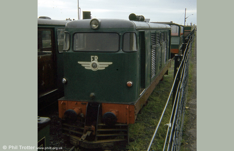 The Fairbourne Railway's 1961-built Guest Engineering diesel locomotive, seen here in its original form. It featured a 2½ litre Daimler petrol engine, automatic gearbox and hydraulic drive to a single axle on each bogie (1A-A1).