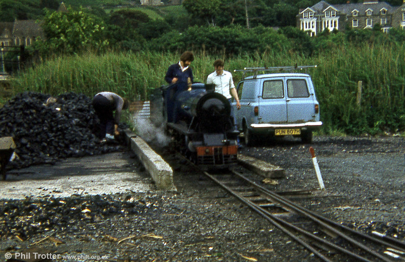 The Fairbourne Railway's 4-6-2 'Ernest W Twining' is coaled at Fairbourne in 1979.
