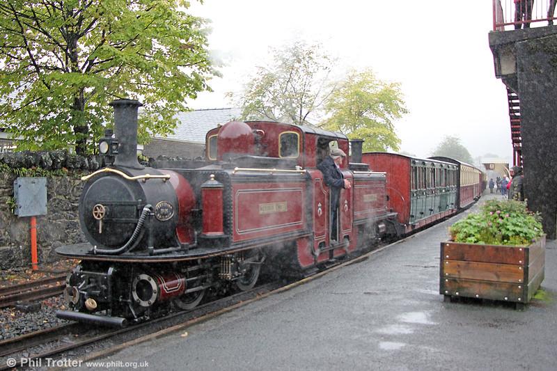 Ffestiniog Railway 0-4-4-0T No.10 (FRCo 1879) 'Merddin Emrys' at Blaenau Ffestiniog with the 1125 from Porthmadog on 5th September 2017.