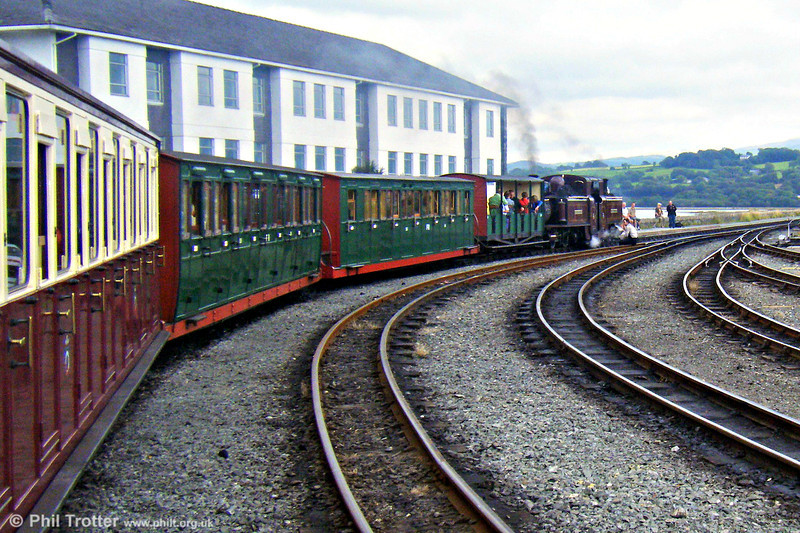 1879-built double Fairlie 0-4-4-0T 'Merddyn Emrys' awaits departure time from Porthmadog with a train for Blaenau Ffestiniog on 11th August 2009.