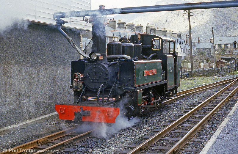ALCO (57156/1916) 2-6-2T 'Mountaineer' takes water at Blaenau Ffestiniog in May 1986.