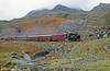 On the Ffestiniog Railway in May 1986, ALCO (57156/1916) 2-6-2T 'Mountaineer' heads for Blaenau Ffestiniog.