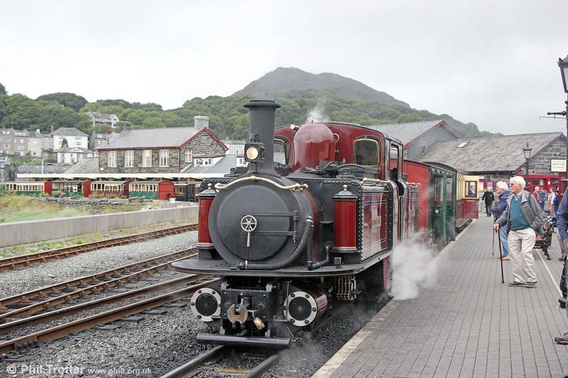 Ffestiniog Railway 0-4-4-0T No.10 (FRCo 1879) 'Merddin Emrys' waits to leave Porthmadog with the 1545 for Blaenau Ffestiniog on 7th September 2017.