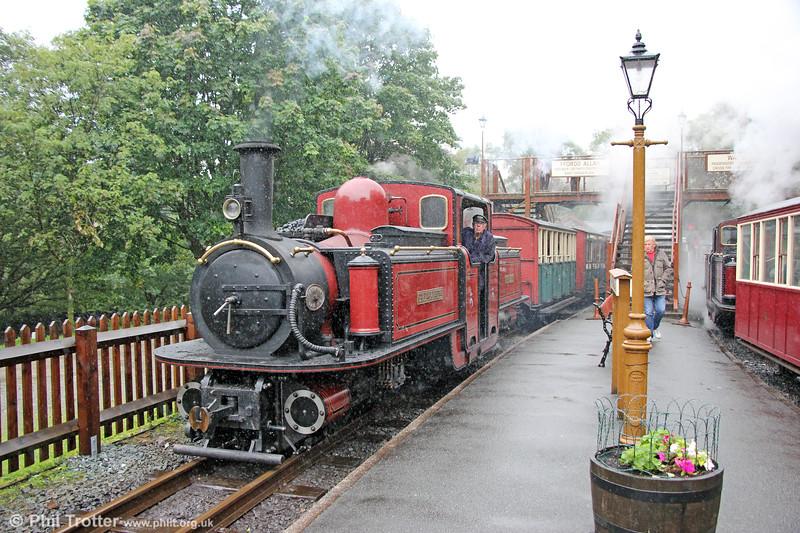 Ffestiniog Railway 0-4-4-0T (FRCo 1992) 'David Lloyd George' calls at Tan y Bwlch with the 1335 Porthmadog to Blaenau Ffestiniog on 5th September 2017.