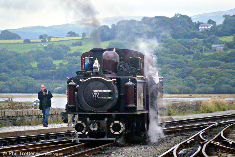 The Festiniog Railway's 1879-built double Fairlie 0-4-4-0T 'Merddyn Emrys' at Porthmadog on 11th August 2009.