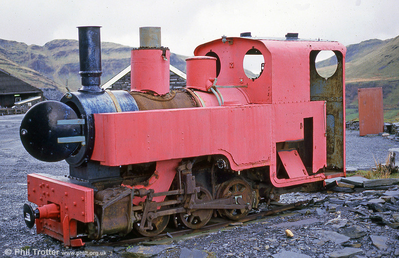 Currently under restoration at the Teifi Valley Railway is Kerr Stuart 0-6-0T no. 2442 of 1915. It was photographed at the Narrow Gauge Railway Centre, Gloddfa Ganol, Blaenau Ffestiniog in June 1986.