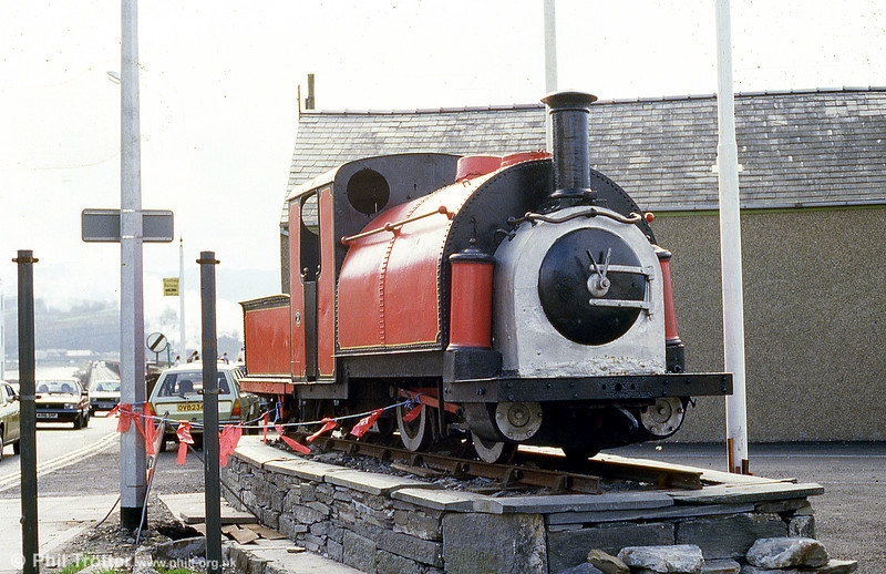 Festiniog Railway 0-4-0STT no. 5 'Welsh Pony' (England 234/1867) displayed on a plinth at Portmadoc in May 1986.