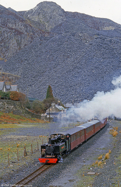 In a typical Ffestiniog landscape is ALCO (57156/1916) 2-6-2T 'Mountaineer'. Privately imported to the UK in 1964, the Alco came to the FR in 1967 and inherited the name of a FR loco dismantled in 1879.