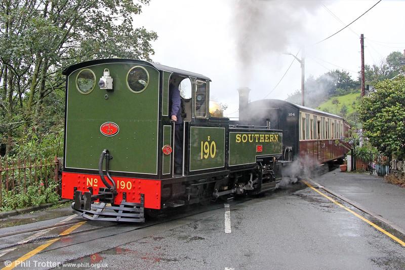 Ffestiniog Railway Lynton & Barnstaple replica 2-6-2T 190 'Lyd' constructed in 2010, passes Penrhyn with the 1125 Porthmadog to Blaenau Ffestiniog on 9th September 2017.