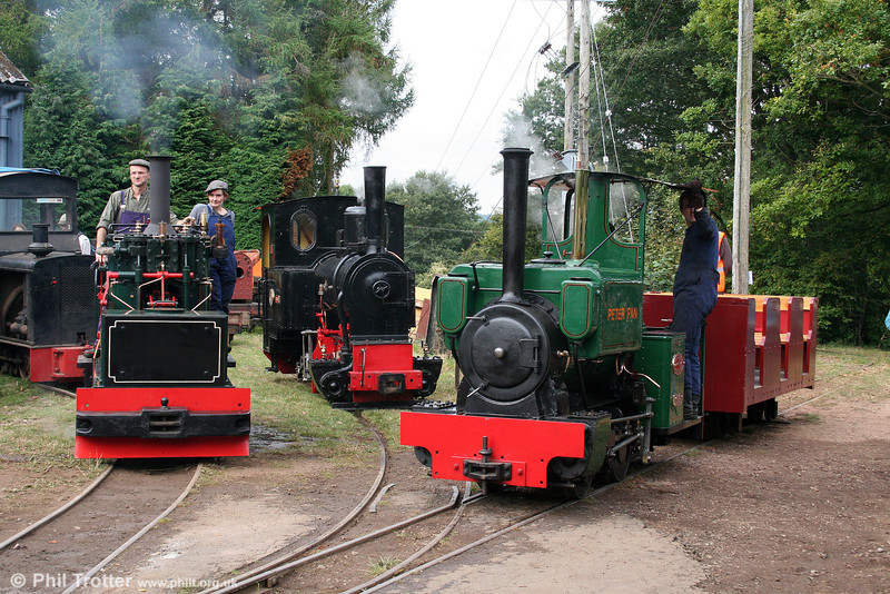 A line up of the three operating locomotives at the Alan Keef open day, Ross-on-Wye on 26th September 2009.