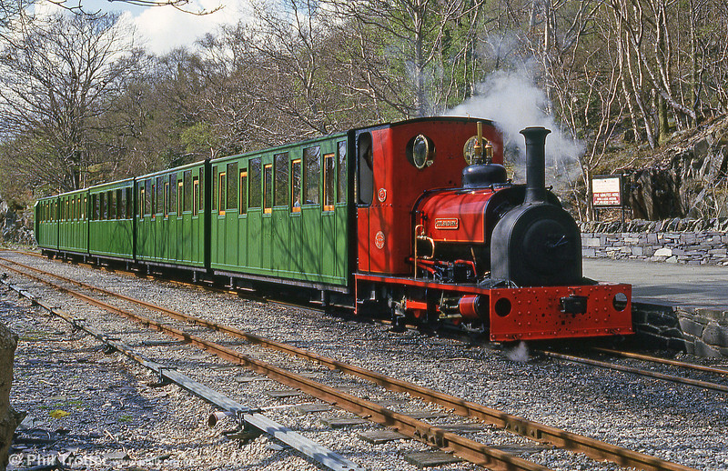 The Llanberis Lake Railway's Hunslet (1430/1922) 'Dolbadarn' at Llanberis in June 1986. The loco was built for shunting the wharves at Port Dinorwic.