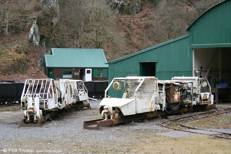 The pair of Becorit 400mm gauge trapped rail system 2adDHFs, nos. 2 and 7 (50/400/406 of 1975 and 100/400/007 of 1984) at Dolaucothi Gold Mine, Pumsaint on 13th March 2010. The pair previously worked at Betws Anthracite, Ammanford.