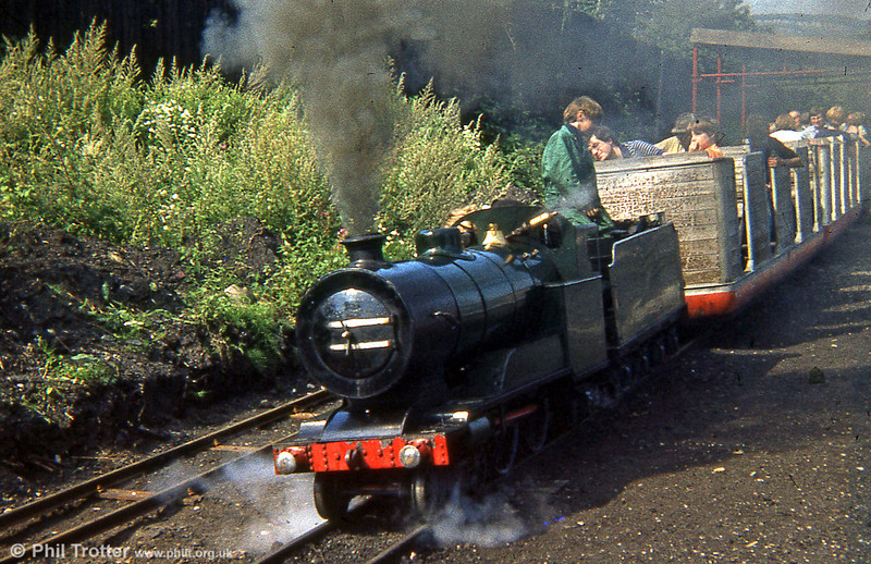"""A scene from the 15"""" gauge Steamtown Miniature Railway, Carnforth c.1977 with Bassett-Lowke 4-4-2 no. 22 'Princess Elizabeth'. This loco was built in 1914 and came from the Southport Miniature Railway; it had been rebuilt in the 1930s after a fire. The SMR closed in 2000 and the loco is believed to have been sold to a buyer in the USA."""