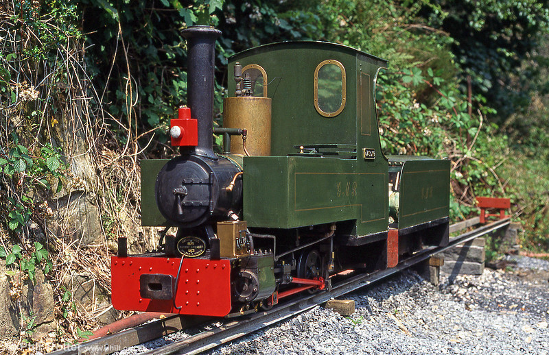 The 7¼ins gauge Gwendraeth Miniature Railway's 0-4-0TT 'Jason', built in 1992 by David Page to the 'Romulus' design at Llwyfan Cerrig, Gwili Railway in July 1995.