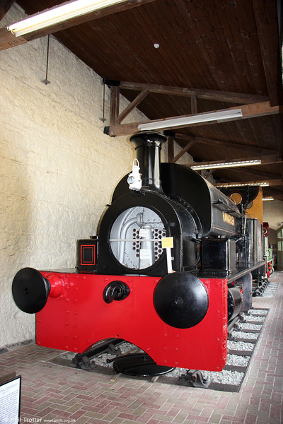 Hudswell Clarke (526/1899) 0-4-0ST 'Hawarden' at the Penrhyn Castle Railway Museum on 6th September 2017. The loco formerly worked at the Globe Ironworks, Stalybridge, of John Summers & Co.